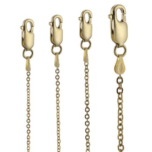 """Bracelet 7/"""" 14k or Jaune Sur Argent Sterling 925 Câble plat Collier 36/"""""""