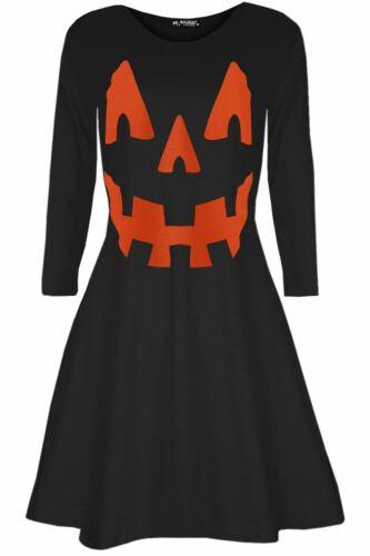 Kids Blouse Squelette Imprimé Halloween Déguisement Évasé Swing Mini Robes