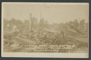 Monticello NY: 1909 RPPC Photo Postcard CARLISLE STORE BROADWAY RUINS Town Fire