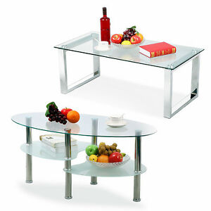 Modern Glass Rectangular/Oval Coffee Table Side End Tables Living Room Furniture
