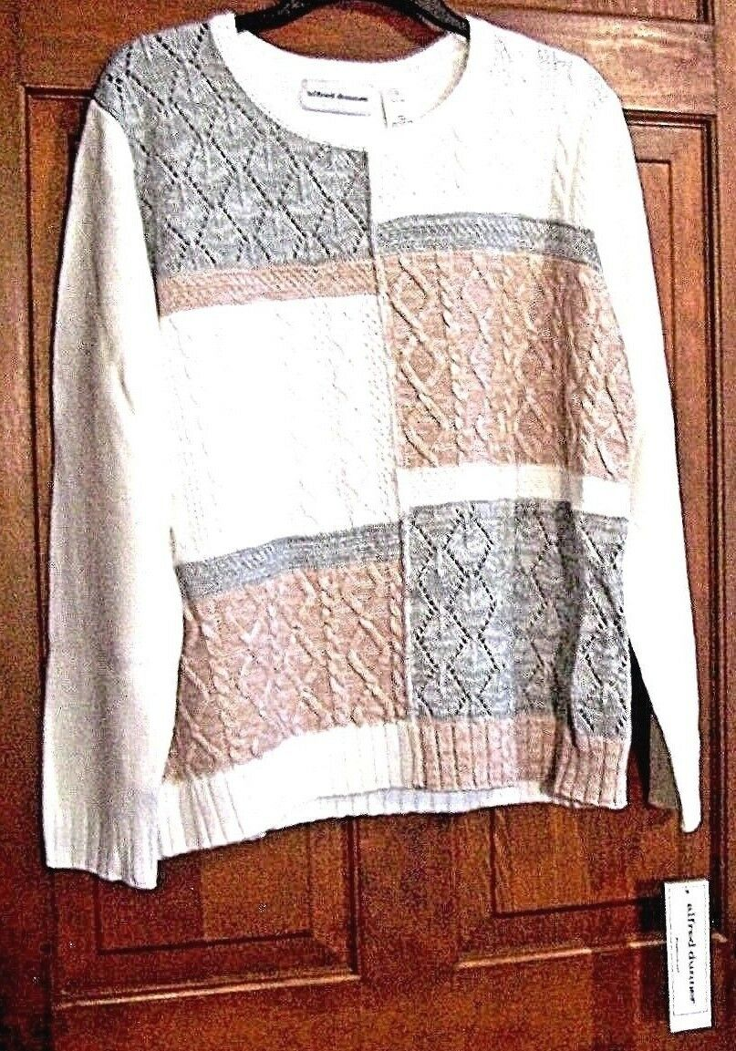 WOMENS ALFRED DUNNER WHITE MULTI LONG SLEEVE SWEATER SIZE SMALL