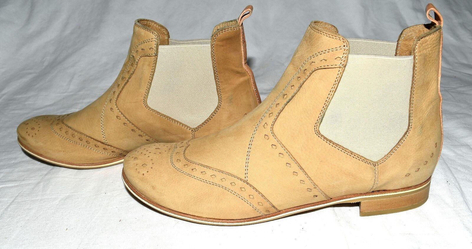 Donna Carolina Satin Castor Neutro Leather Womens Ankle Boots Sz Eur 36.5 Italy