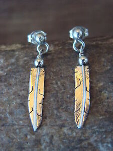 Native-American-Indian-Jewelry-Sterling-Silver-Feather-Earrings-Lorenzo-Arviso