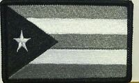 Puerto Rico Iron-on Patch Black, White & Gray Military Emblem Black Border