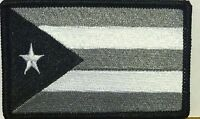 Puerto Rico Iron-on Patch Black, White & Gray Military Emblem Black Border