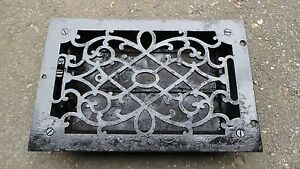 Details about Antique VICTORIAN Cast Iron Floor Grille 12x8 Heat Grate  Register + Louvers