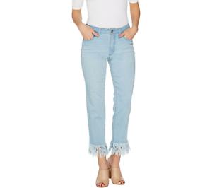 Women with Control Regular My Wonder Denim Fringe Jeans color Bleached Sz Plus18