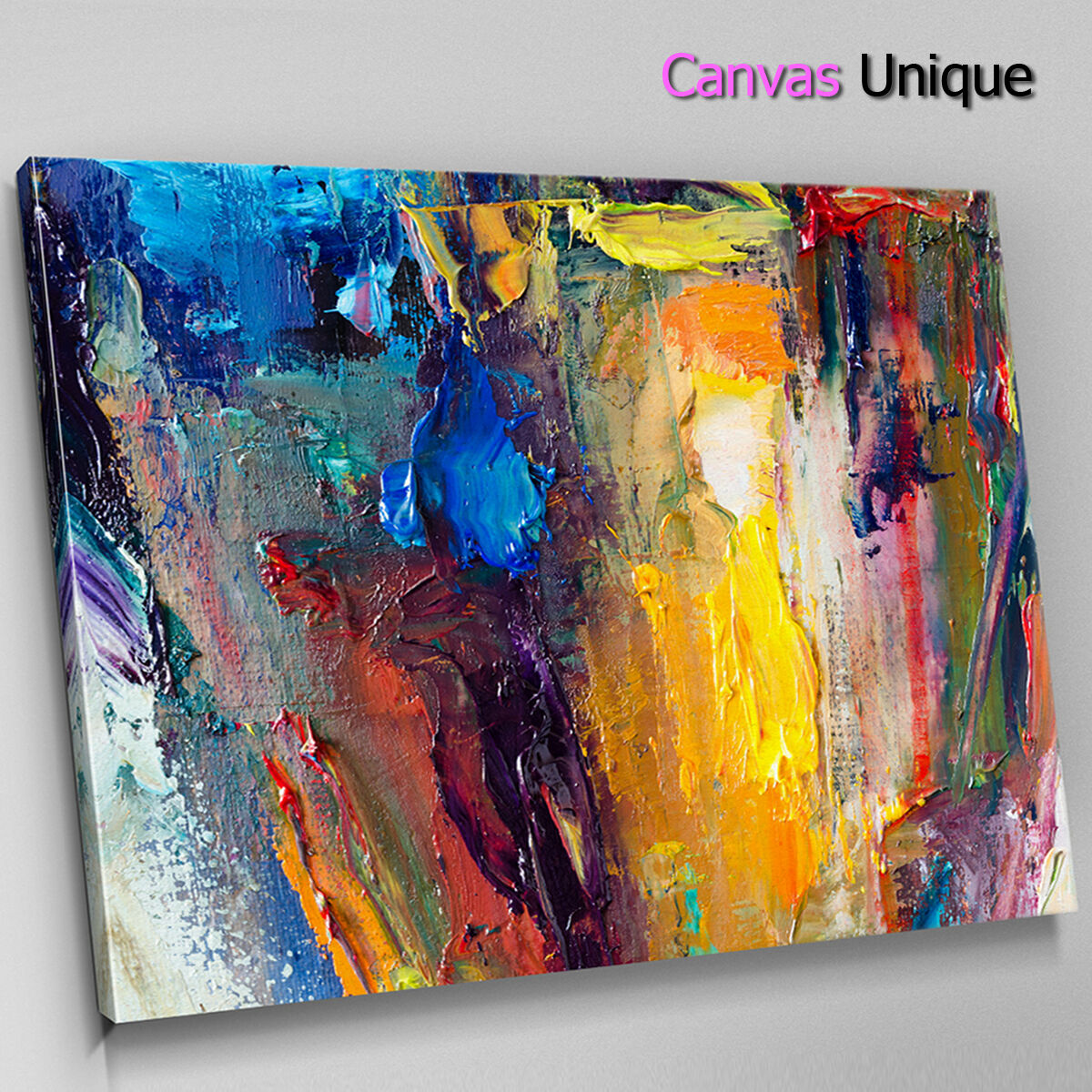 AB1432 Gelb Blau modern large Abstract Canvas Wall Art Framed Picture Print