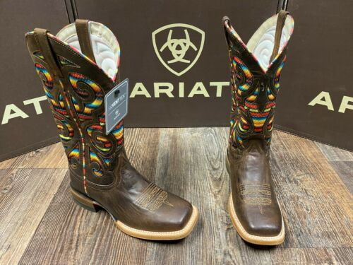 Ladies square toe Baja VentTEK western boot by Ariat weathered russett//serape