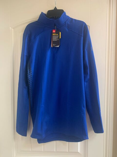 Mens Under Armour ColdGear Reactor Fitted 1/4 Zip Pullover 1298253 Size S Blue