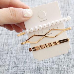 3PCS//Lot Hair Pins Golden Bang Clip Korean Women Pearl Sweet Hair Clips Barrette