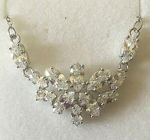 NE-White-gold-necklace-sim-diamonds-14kGF-statement-bib-necklace-Plum-UK-BOXED