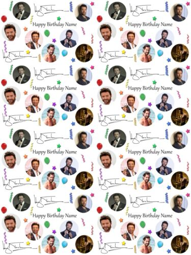 Hugh Jackman Personalised Birthday Wrapping Paper ADD NAME//S CHOOSE BACKGROUND