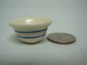 ARTISAN-SIGNED-DEBORAH-McKNIGHT-DOLLHOUSE-MINIATURE-PINK-BLUE-STRIPE-MIXING-BOWL