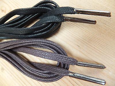 4mm Plano algodón encerado - Cordones Zapatos Punta Metálica - Negro O Marrón -
