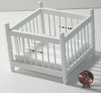 Dollhouse Miniature Playpen Wood White Handley Cla10368 1:12 Scale