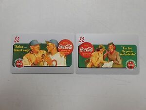 1995-Coca-Cola-2-minute-calling-card-lot-of-2-RARE-AND-UNUSED-Sprint-card-LOOK