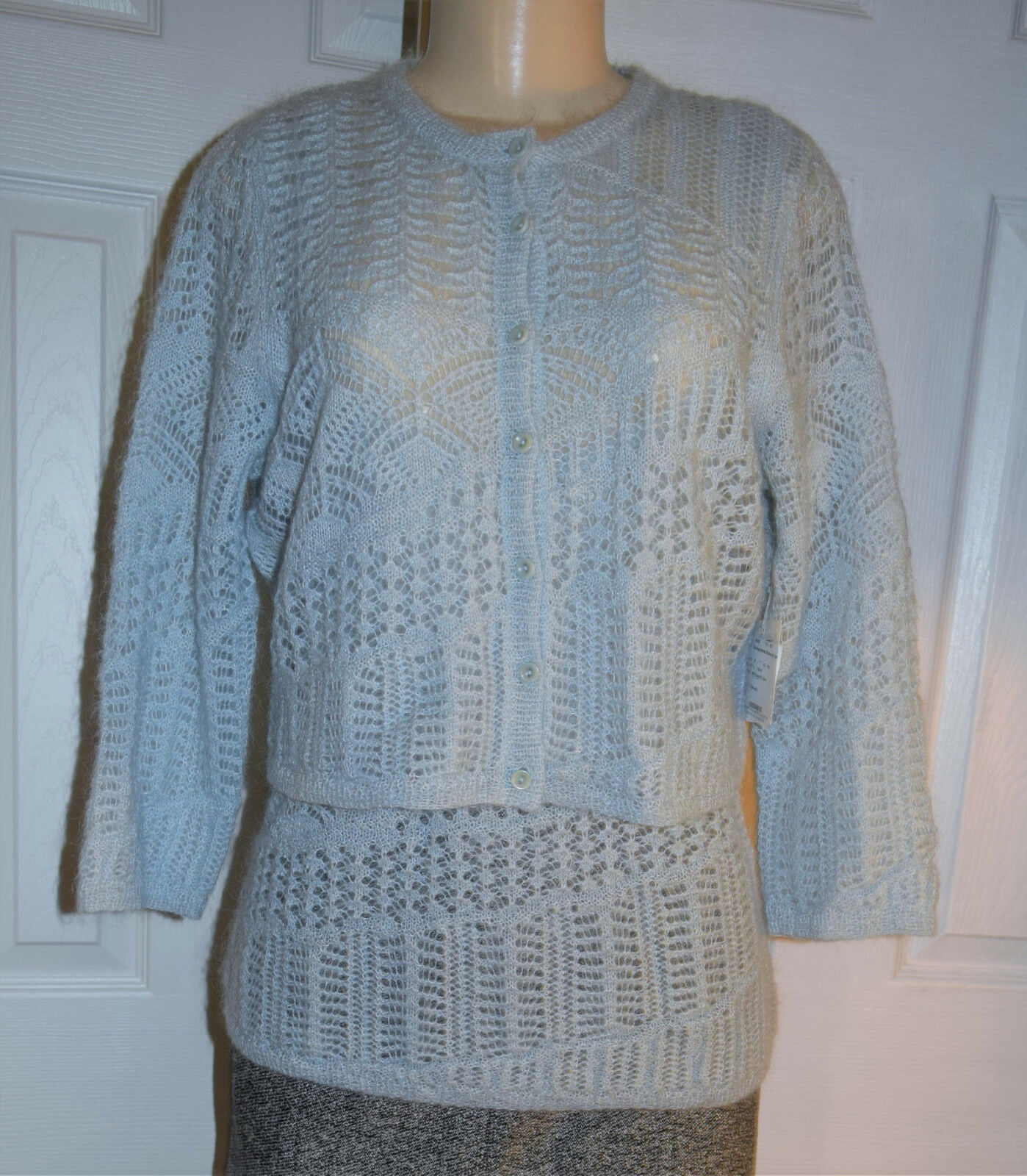WORTH Solid bluee Angel Mohair Blend Chunky Knit Stitched Cardigan & Tank - M NWT