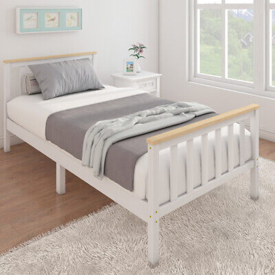 3ft Solid Wood Single Bed Frame With, White Solid Wood Bedroom Furniture Uk