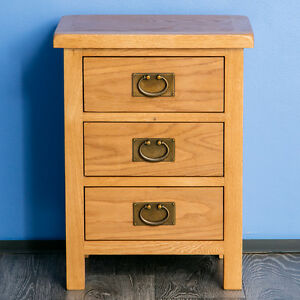 Image Is Loading Surrey Oak Bedside Table Waxed 3 Drawer
