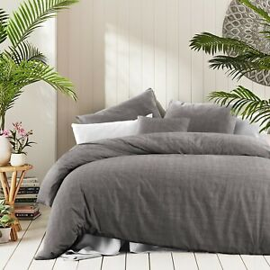 Cotton Textured Print Doona Duvet Quilt Cover Queen Size With Pillowcases Set