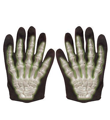 Adults Kids Skeleton Bone Gloves Glow in The Dark Full Finger Gloves for Halloween