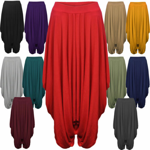 Donna Raccolto Drappeggiato Baggy Harem Pants Pantaloni Lagenlook Alibaba 8-26