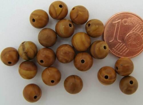 20 perles rondes 6mm PIERRE Marron veiné DIY Création Bijoux PIER45