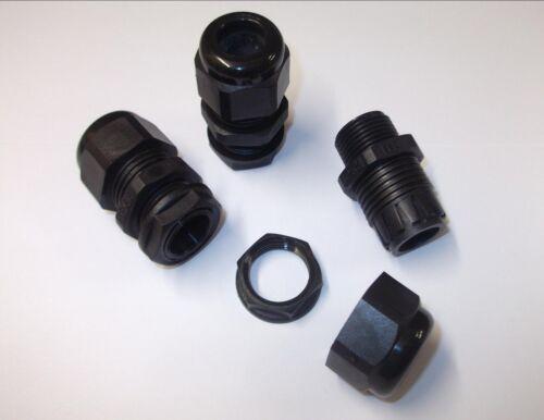 BLACK PRESSACAVO IP68 nylon con dado di bloccaggio resistente alle intemperie M16 M20 M25 M32