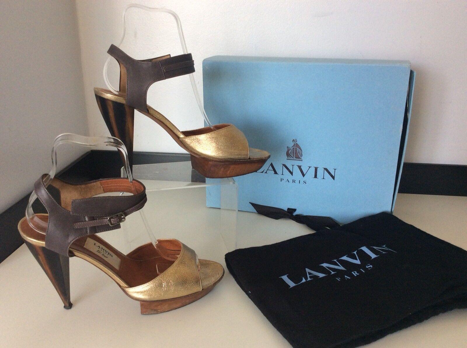 Lanvin Gold Sandales Sandales Sandales Schuhes Peep Toe Größe 39 Uk 6 Boxed Rrp  Gc Heels 4b61a8