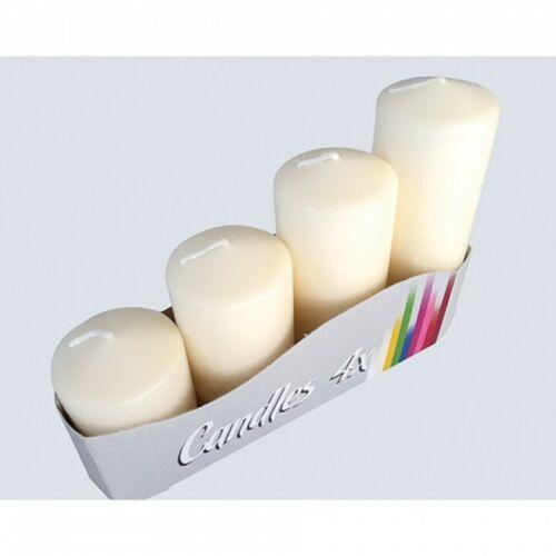 4 Stumpenkerzen für Adventskranz creme 4 Größen Weihnachtsdekor 2,50 EUR//Stück