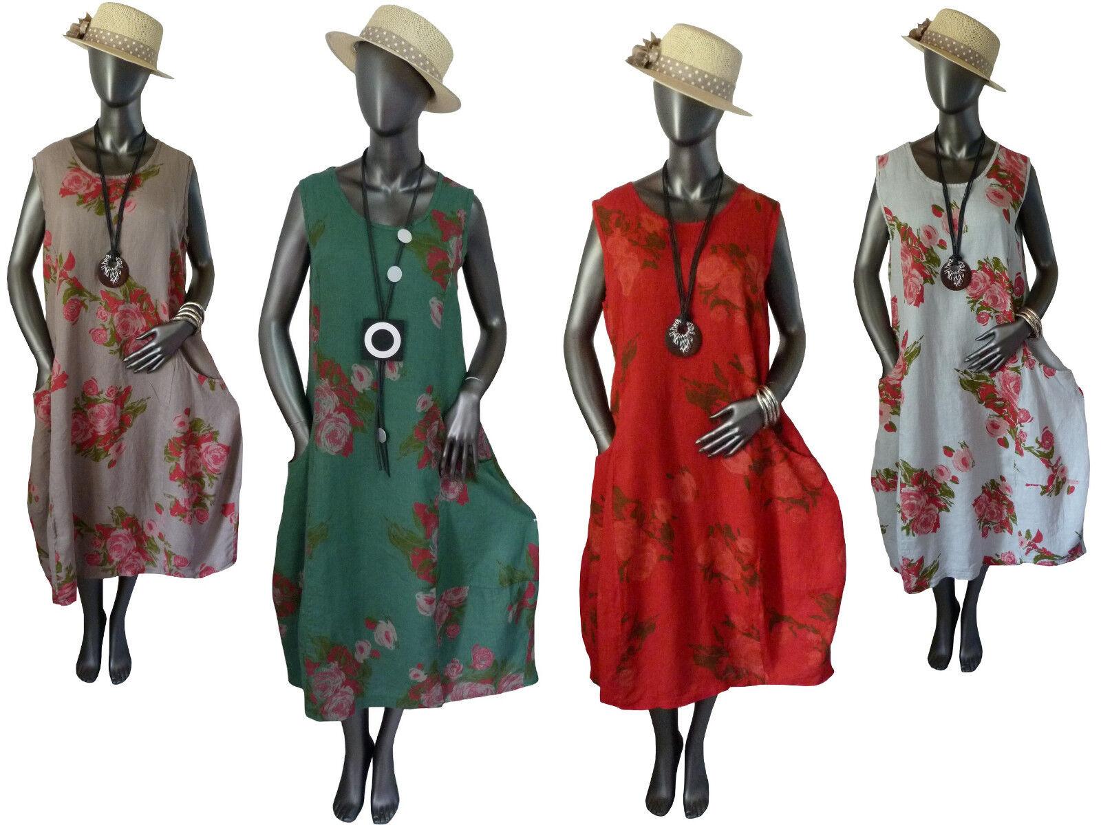 Kleid Leinenkleid Sommerkleid Rosandruck leicht lang  4 Farben Gr.40-50  Italien