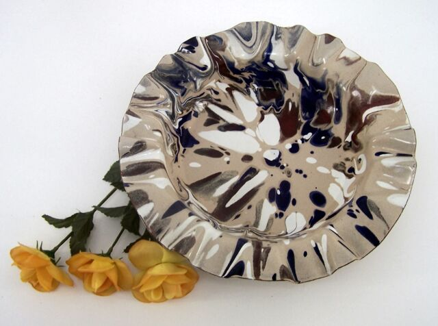 Metall Teller braun mit ineinanderlaufenden Farbtönen Ø ca. 28,5 cm