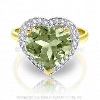 Genuine Green Amethyst Heart Gemstone Diamonds Ring 14K Yellow, White, Rose Gold