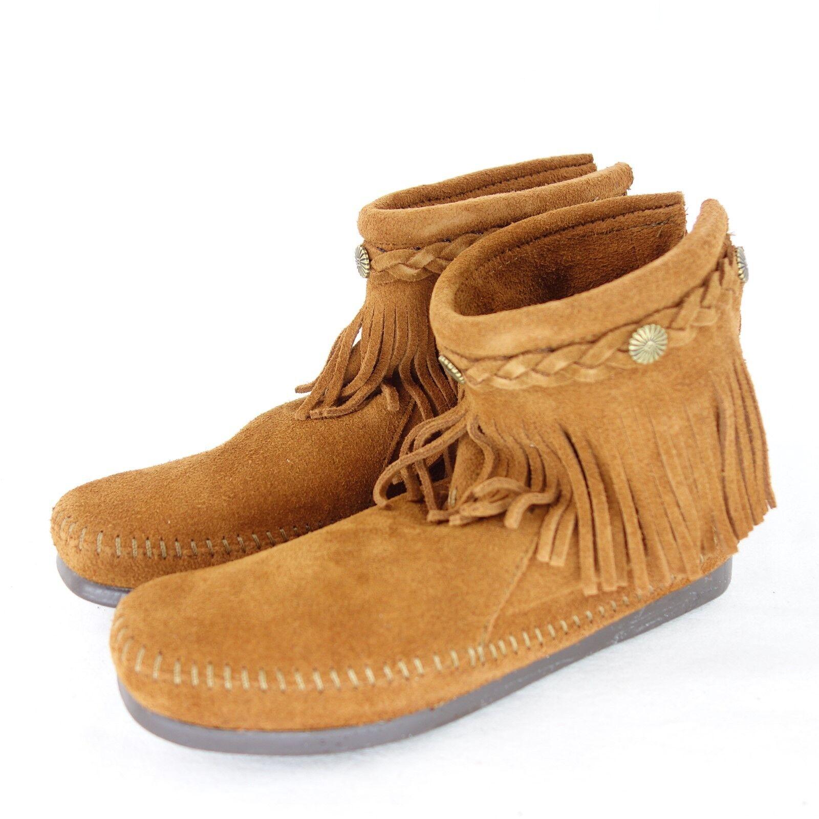 MINNETONKA Damen High Top Back Zip Schuhe 36 Stiefeletten Wildleder NP 109 NEU