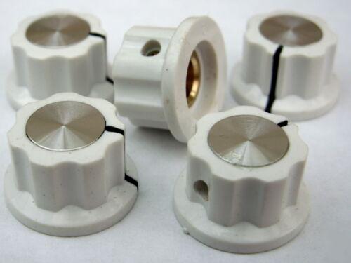 5 White ABS silver top skirt knobs 20mm dia 12mm high brass insert screw