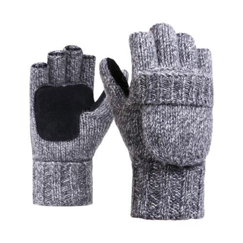 Mens Thick Fingerless Gloves Men Winter Warm Finger Mittens Knitted Half Fingers
