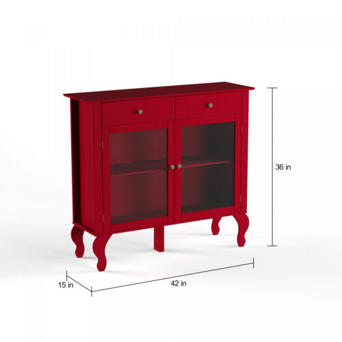 Wood Buffet Storage Display Cabinet w// Glass Doors in Red Finish