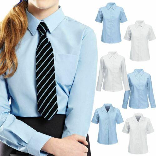 "Girls School Shirt Ex BHS TWIN PACK White Blouse Year Easy Iron Teflon 26/""-48/"""