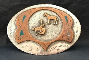 SPECTACULAR-Cool-Old-Western-2-Layer-BUCKING-BRONCO-BUSTER-amp-HORSE-Belt-Buckle
