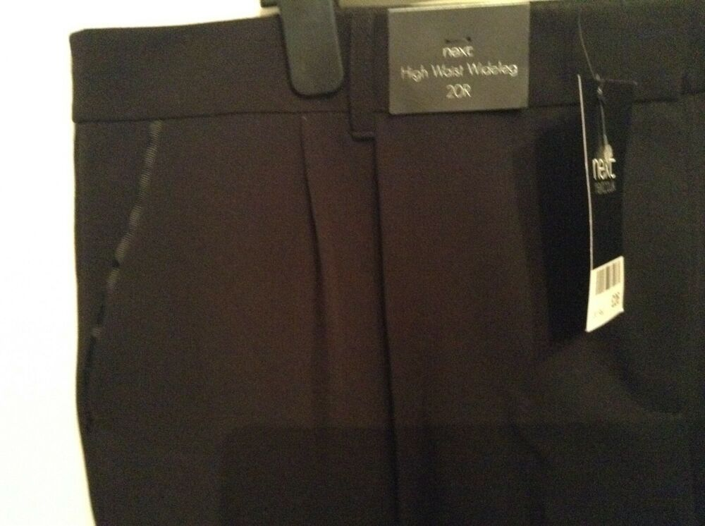 Bnwt ❤ Next ❤ Taille 20 Reg Taille Haute Jambe Large Noir Smart Travail Pantalon Nouveau AgréAble En ArrièRe-GoûT