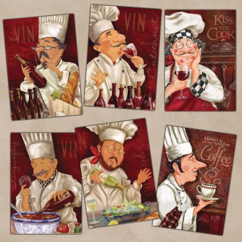 6 Beautiful Kitchen Fridge Magnets FREE SHIPPING - Cute Italian/ French Chefs #2