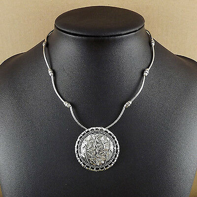Bohemian round leaf Pendant Tibetan Silver vintage Necklace Women Girl Jewelry