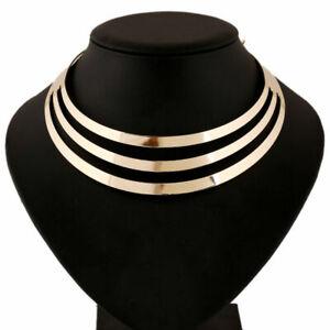 Damen-Mehrschichtig-Metallic-Halsketten-Anhaenger-Halsreif-Bib-Statement-MOD-M5Y1