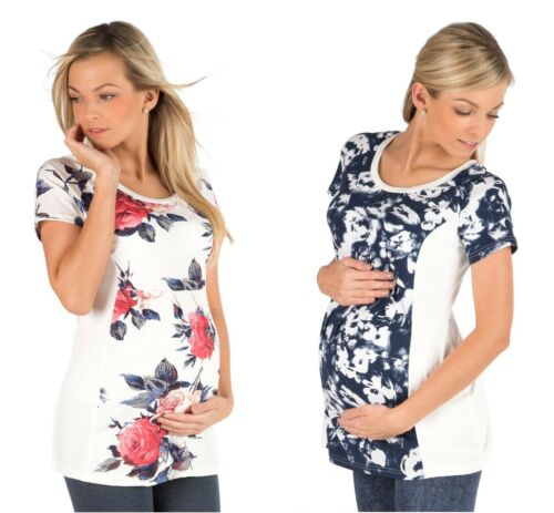Maternity Short-Sleeved Floral Top Blouse T-shirt Pregnancy Clothing Size 8-18
