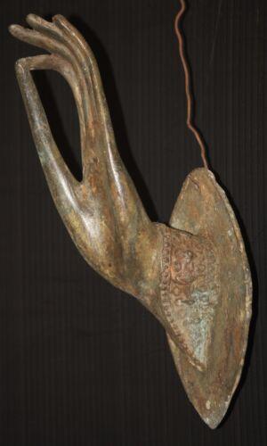 HAND MUDRA wall door handle hardware vintage brass patina Buddhist   LEFT