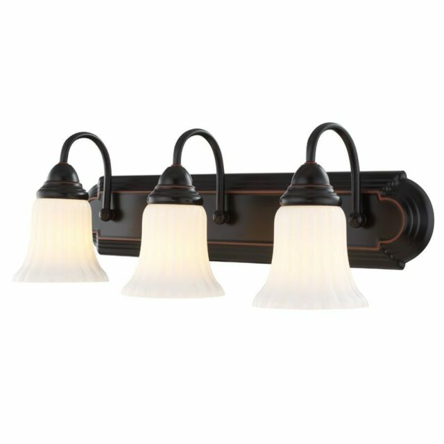 Portfolio Oil Rubbed Bathroom Vanity 3 Light Wall Fixture Rustic Home Decor New