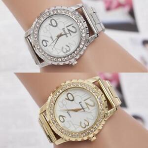 WOMEN-039-S-Cristallo-Lusso-gioielli-analogico-in-acciaio-inox-Orologio-da-polso-al-quarzo-orologi