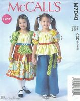 Mccall's 7040 Girls' Top, Dress And Pants Sewing Pattern