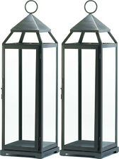 Perfect 2 Large 24u201d Tall Malta SILVER Candle Lantern Holder Light Outdoor Terrace  Patio